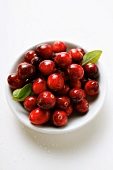Cranberries with drops of water and leaves in bowl