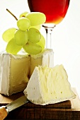Saint Andre triple cream cheese with grapes and red wine