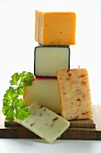 Various types of Cheddar with parsley
