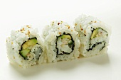 Inside-out rolls with fish and avocado