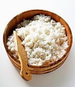 Boiled sushi rice in wooden bowl