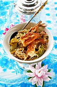 Noodles with fried shrimps and Chinese cabbage