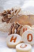 Chocolate elk biscuits and spitzbuben (jam biscuits)