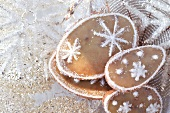 Orange biscuits with snow crystals