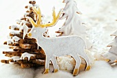 Chocolate stag biscuit in winter forest