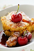"Scheiterhaufen (""Log pyre"", bread pudding) with cherries"