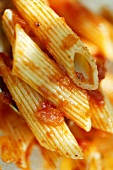 Penne rigate with tomato sauce (detail)