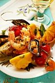 Plate of Mediterranean appetisers (seafood, vegetables)