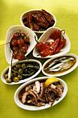 Verschiedene Antipasti: eingelegtes Gemüse, Fisch, Oktopus