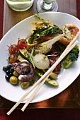 Antipasti platter of marinated vegetables & seafood