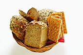 Various types of wholemeal bread & crispbread in bread basket