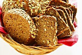 Various types of wholemeal bread in bread basket