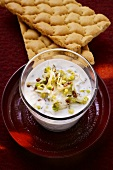 Yoghurt and cress dip with crispbread