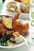 Barbecued shrimps with garlic mayonnaise