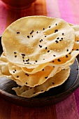 Poppadom with black sesame