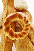 Flatbread, ciabatta, white bread ring and baguette
