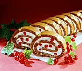 Chocolate roll with redcurrants