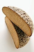 A loaf of farmhouse bread, halved
