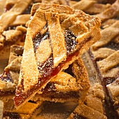 Linzer tart, cut into pieces