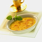 Crème brulee in white bowl