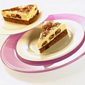 Two pieces of tiramisu cake
