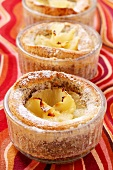 Pineapple and poppy seed soufflé in small glass dish