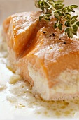 Salmon fillet in cream sauce with thyme