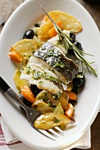 Turbot with carrots and potatoes