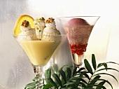 Vanilla ice cream & vanilla cream; redcurrant sorbet