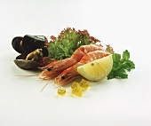 Shrimps and shellfish, garnished with lettuce, mint & lemon
