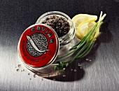 Black caviare from the Caspian Sea in the jar