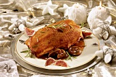 Christmas goose with figs and water chestnuts