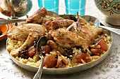 Couscous with chicken, dried fruit, almonds and cinnamon