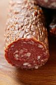 A venison sausage (salami), a piece cut off