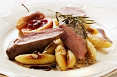 Venison fillet with potato noodles, rosemary & cranberry apple