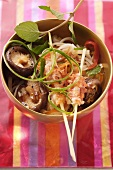Rice noodles with freshwater crayfish and Thai basil