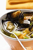 Mussel soup with courgettes