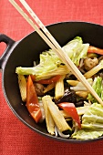 Ingredients for Asian vegetable dish in wok