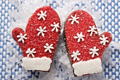 Decorated chocolate mittens for Christmas