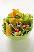 Mexican salad with vegetables and taco chips