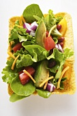 Mexican salad with vegetables and taco chips in taco shell