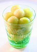 Honeydew melon balls in glass