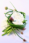 A blob of herb mayonnaise and fresh chives