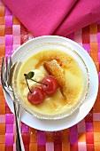 Crème brulee with cherries