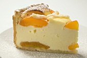 Piece of apricot cheesecake with icing sugar