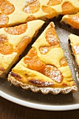 Apricot tart with icing sugar, pieces cut