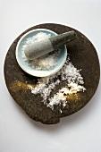 Coarse salt in mortar