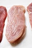 Turkey escalope between veal and pork escalopes
