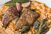 Risotto with fried calf's liver, sage and garlic