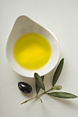 Olive oil in bowl, olive and olive branch beside it
